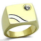 Mens Crystal With Silver Wave Gold Plated Stainless Steel Ring