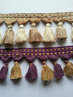 1 Metre Interior Design Beige Cream Purple Gold Green Gold Tassel Fringe Trim