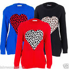 LADIES WOMENS DESIGNER JUMPER BIG PLUS SIZE KNITTED HEART XMAS JUMPER TOPS