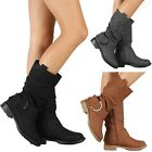 Women's Boots Round Toe Slouch Fashion Dressy Boot Low Heel Black Grey Tan Size