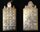 Wood Christmas Hanging Advent Calendar. Santa Snowman.Silver&Gold. Hand Painted
