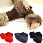 Pop Women Faux Rabbit Fur Hand Wrist Warmer Winter Knitted Fingerless Gloves