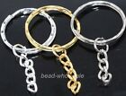 New Arriving Hot sale 10pcs  plated key ring chain findings 30mm silver/golden