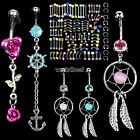 Crystal Gem Piercing Navel Dangle Belly Barbell Button Bar Ring Body Art Jewelry