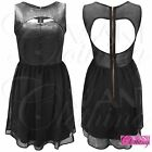 New Womens Black Skater Dress Pu Flared Skirt Mesh Top Leather Look Front Zipped