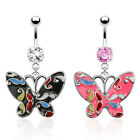 Surgical Steel Epoxy Coated Dangle Butterfly Belly Bar /  Navel Rings