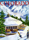 Vintage Colorado Travel Poster Skiing Ski Quilting Fabric Block