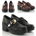 LADIES CLEATED CHUNKY PLATFORM WOMENS LOW HEEL LOAFERS PUMPS SHOES SIZE 3-8