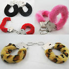 Furry Fuzzy Costume Handcuffs Metal Wrist Cuffs Soft Fur Bachelorette Hen Party