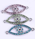 Fashion 6pcs Eye Glass crystal Charm Rhinestone Connector For Bracelet