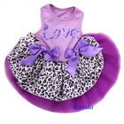 Valentine's Day Lavender Leopard Love Party Dress Small Cat Pet Dog Clothes XS-L