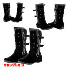 New Women Black Flat Boots Fur Fashion Slouch Mid Calf Winter Snow Boots Shoes