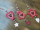 Set of 3 Nordic Red Wooden Hanging Gingham Christmas Tree Heart Star with Bell