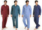 Mens long sleeve and trousers poly cotton pyjama button front gents pjs s-3xl