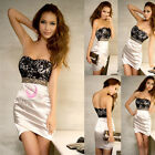 New Women Lady Sexy Low Lace Rivet Mini Pleated Strapless Evening Cocktail Dress