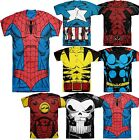 Men Marvel DC Comic Book Heroes Costume Graphic Tee Shirts Short Sleeve Licensed