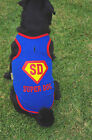 Dog  Singlet Blue Superdog  M L - Puppy Pet T Shirt Clothes Clothing Coat Cool