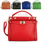 Leather Style Ladys Women's Clasp Flappy Tote Bags Shoulder Handbag Tan Black