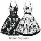 RKH8 Hearts & Roses Floral Rockabilly Dress Pin Up Vintage 50s Party Prom Swing