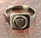 $295 GUCCI MENS RING CREST LOGO STERLING SILVER AGING FINISH MADE IN ITALY