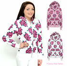 NEW LADIES FLORAL QUALITY ZIP UP HOODIE WOMENS SWEATSHIRT COAT JACKET SIZE 8-14