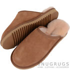 UNISEX CHESTNUT SHEEPSKIN SLIPPER MULE HARD SOLE (GREY OR CHESTNUT) SIZES 3-13