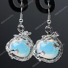 Opal Opalite Gem Dragon Wrap Ball Hook healing chakra Dangle Earring Eardrop