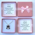 FLOWER GIRL BRIDESMAID GIFT PINK SILVER TEDDY NECKLACE PERSONALISED GIFT BOX