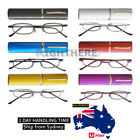 NEW 3 PAIRS METAL FRAME SPRING ARM PEN READING GLASSES WITH METAL TUBE CASE