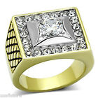 Mens Mounted Center 18kt GP Two Tone Stainless Steel Ring