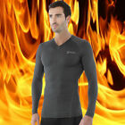[Tesla] Mens Compression HOTGEAR Gray Base Layer Thermal V-Neck Shirts V24GG