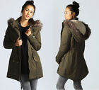 Ladies Women Parka Faux Fur Leather Trim Hooded Zip Up Jacket Outerwear Coat