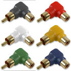 Gold Contacts Phono in 6 Colours RCA Right Angled Adapter Adaptor Female to Male