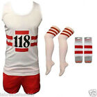 MENS LADIES 118 FANCY DRESS RED WHITE VEST SHORTS SOCKS WRISTBAND COSTUME