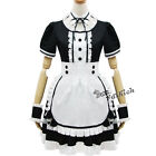 Lolita Lovely Women Girls Black Fancy Maid Dress Apron Outfit Cosplay Costume