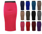 LADIES PLAIN OFFICE WOMEN STRETCH BODYCON MIDI PENCIL SKIRT PLUS SIZE 8-22