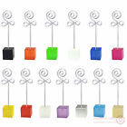 lot 12pcs cube flower bud wire stand memo card photo clip holder,wed party favor