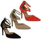 NEW WOMENS LADIES FAUX SUEDE ANKLE STRAP HIGH STILETTO HEEL OFFICE SHOES SIZE