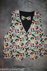 Novelty MICKEY MOUSE,Different Patterns Vest and Bow Tie Set S-3XL Free Hanky