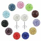 6MM High Quality Clay Sparkly Crystals Pave Disco Ball Stud Shamballa Earrings
