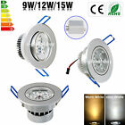 Dimmable 9/12/15W LED Ceiling Recessed Lamp Down Lights Warm/Day White+Driver E
