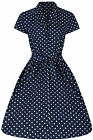 40s 50s  Retro Vintage Style  Blue Polka Dot Belted A-Line Shirt Dress New 8-20