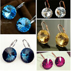 White Gold Plated/Blue/Clear/Round Crystal Drop Earring/RGE381/366/541
