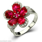 925 Sterling Silver Flower Ruby Wedding Engagement Micro inlays Ring R9220