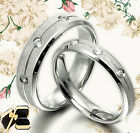 Groom&Bride Crystal Matching Wedding Bands Titanium Rings 064A3