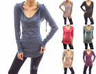 Cotton Blend Hoodie Ribbed Sides Pocket Curve Hem Tunic Casual Top