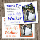Unique Personalised Wedding Photo Thank You Cards + Envelopes Any Colour T10P