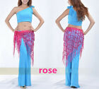 Belly Dance Hip Scarf  Skirt Tribal Fringe Sequins Triangle 12 Colors