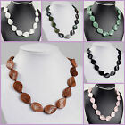 26mm Hand carved quartz agate rock crystal gemstone leaf necklace 19""