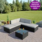 Rattan Modular Corner Sofa Set Garden Conservatory Furniture Black Brown Or Grey